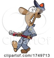 Cartoon Happy Male Plumber Carrying A Monkey Wrench