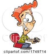 Cartoon Boy Playing A Video Game