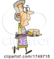Cartoon Granny With A Sponge Cake