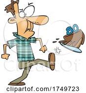 Cartoon Man Kicking The Cake