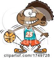 Cartoon Boy Dribbling A Basketball