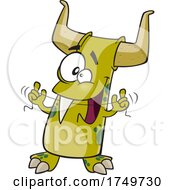 Cartoon Monster Flossing Its Fang by toonaday