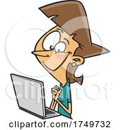 Cartoon Woman Reading A Good Email