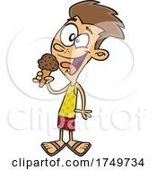 Cartoon Boy Eating Ice Cream by toonaday