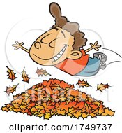 Cartoon Boy Diving In To Autumn Leaves
