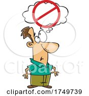 Cartoon Man With A No Thinking Sign by toonaday