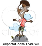 Cartoon Positive Boy Or Man On A Mountain by toonaday