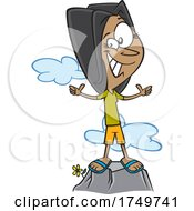 Cartoon Positive Girl Or Woman On A Mountain by toonaday