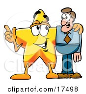 Clipart Picture Of A Star Mascot Cartoon Character Talking To A Business Man by Toons4Biz
