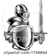 Medieval Knight Sword And Shield Vintage Woodcut