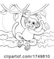 Poster, Art Print Of Monkey Singing On Jungle Vines Thumbs Up Cartoon