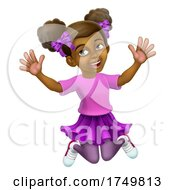Happy Jumping Girl Kid Child Cartoon Character by AtStockIllustration