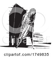 Woodcut Style Blind Woman