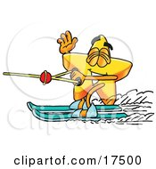 Clipart Picture Of A Star Mascot Cartoon Character Waving While Water Skiing by Toons4Biz