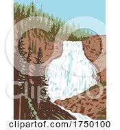 Rustic Falls On Glen Creek Within Yellowstone National Park Within Yellowstone National Park Wyoming USA WPA Poster Art
