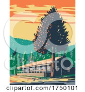 Roosevelt Lodge Cabins Located In The Tower Roosevelt Area Within Yellowstone National Park Teton County Wyoming USA WPA Poster Art