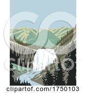 Gibbon Falls A Waterfall On The Gibbon River In Northwestern Yellowstone National Park Wyoming USA WPA Poster Art