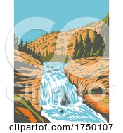 Firehole Falls On The Firehole River Located In Southwestern Yellowstone National Park Wyoming USA WPA Poster Art