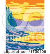 Ribbon Lake In The Canyon Section Of Yellowstone National Park Montana USA WPA Poster Art