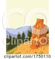 Petrified Tree Found Off The Grand Loop Road North Of Tower Roosevelt Junction In Yellowstone National Park Teton County Wyoming USA WPA Poster Art