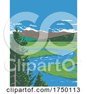 Hayden Valley A Sub Alpine Valley Straddling The Yellowstone River In Yellowstone National Park Teton County Wyoming USA WPA Poster Art