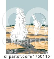 Norris Geyser Basin The Hottest Oldest And Most Dynamic Of Yellowstones Thermal Or Geothermal Areas In Yellowstone National Park Teton County Wyoming USA WPA Poster Art