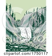 Mystic Falls A Cascade Type Waterfall On The Little Firehole River Within Yellowstone National Park Teton County Wyoming USA WPA Poster Art