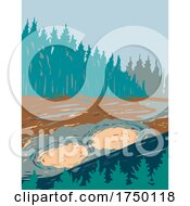 Mud Volcano A Major Geyser Area On The East Half Of In Yellowstone National Park Teton County Wyoming USA WPA Poster Art