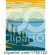 Yellowstone Lake The Largest Body Of Water Located Within Yellowstone National Park Teton County Wyoming USA WPA Poster Art