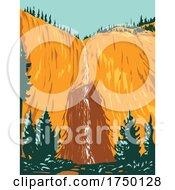 Fairy Falls One Of Yellowstones Tallest Waterfalls Within Yellowstone National Park Teton County Wyoming USA WPA Poster Art