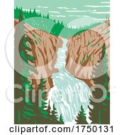 Kepler Cascades A Waterfall On The Firehole River In Southwestern Yellowstone National Park Wyoming USA WPA Poster Art