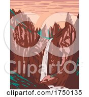 Tower Fall On Tower Creek Located In Northeastern Yellowstone National Park Wyoming USA WPA Poster Art