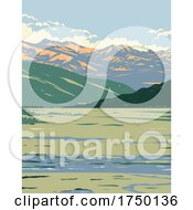 Tower Roosevelt And The Lamar Valley With The Lamar River Flowing Located In Yellowstone National Park Teton County Wyoming USA WPA Poster Art