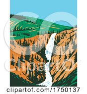 Undine Falls A 3 Tiered Waterfall On The Lava Creek In Northern Yellowstone National Park Wyoming USA WPA Poster Art