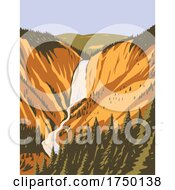 Lower Yellowstone Falls The Largest Volume Waterfall In The Rocky Mountains Within Yellowstone National Park Wyoming USA WPA Poster Art