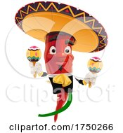 Poster, Art Print Of Mexican Pepper Playing Maracas