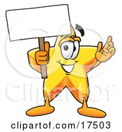 Clipart Picture Of A Star Mascot Cartoon Character Holding A Blank Sign by Toons4Biz