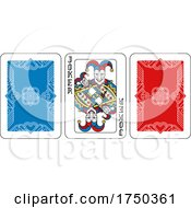 Playing Card Joker And Back Yellow Red Blue Black