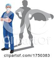 Superhero Nurse Doctor Shadow Super Hero by AtStockIllustration