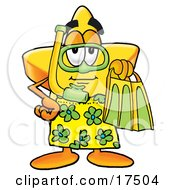 Clipart Picture Of A Star Mascot Cartoon Character In Green And Yellow Snorkel Gear by Toons4Biz