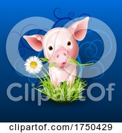 Little Pink Pig In Grass Over Blue