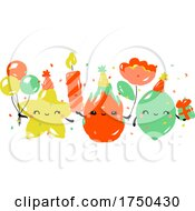 Kawaii Characters Of Star Fruit Dragon Fruit And Lime Celebrating Birthday