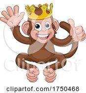 Poster, Art Print Of Monkey King Crown Waving Thumbs Up Cartoon Animal