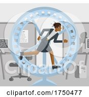 Business Woman Hamster Wheel Stress Concept