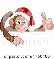 Poster, Art Print Of Christmas Monkey Cartoon Character In Santa Hat