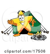 Clipart Picture Of A Star Mascot Cartoon Character Camping With A Tent And Fire