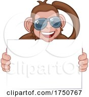 Poster, Art Print Of Monkey Sunglasses Cartoon Animal Holding Sign