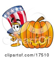 Clipart Picture Of An Uncle Sam Mascot Cartoon Character With A Carved Halloween Pumpkin by Toons4Biz