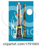 Woodcut Style Soviet Rocket