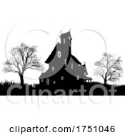 Silhouette Haunted Halloween House Spooky Trees